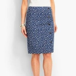 NWT Talbots Faux-Wrap Polka Dot Pencil Skirt